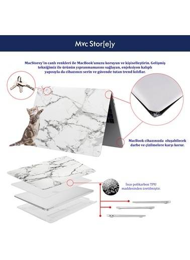 "Mcstorey Yeni MacBook Pro Type-c A1707 A1990 15.4"" Kılıf Kapak Hard case Mermer Renksiz"